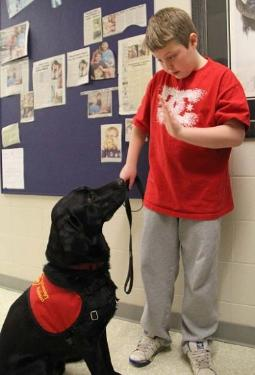 Image of a boy and his service dog in school